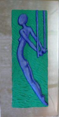 Acróbata I. 2018 / Edición: 2/3. Relieve en escayola de 10x17 cm sobre placa de acero de 14x31 cm.