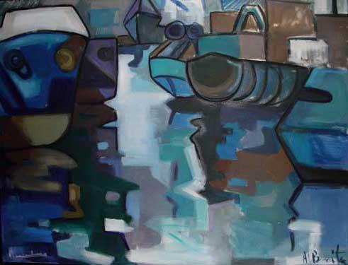 Barcos, 1992 / Acrílico sobre lienzo, 146 x114 cm.