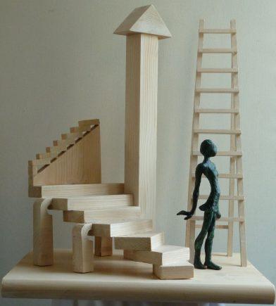Homenaje a Escher II, 2012 / 34 x 44 x 54 cm / Bronce y Madera / Ana Luisa Benítez y Manuel Cyphelly