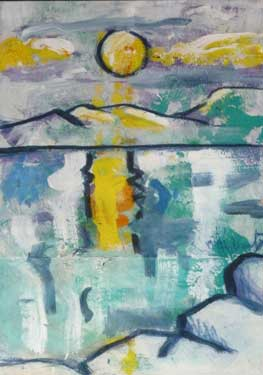 Atardecer en La Isleta, 1992 / Acrílico sobre papel, 21 x 30 cm.