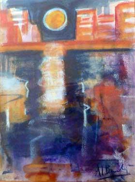 Atardecer en el muelle, 1992 / Pastel, 23 x 32 cm.