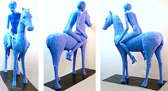 Die blaue reiterin, 140 cm altura x 120 cm / 2011 / Cemento especial pintado con pigmento azul