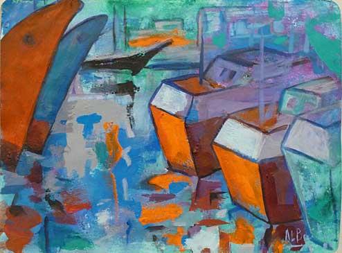 Barcos, 2002 / Acrílico sobre papel, 24 x 30 cm.