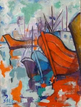 Barcos, 2002 / Acrílico sobre papel, 32 x 48 cm.