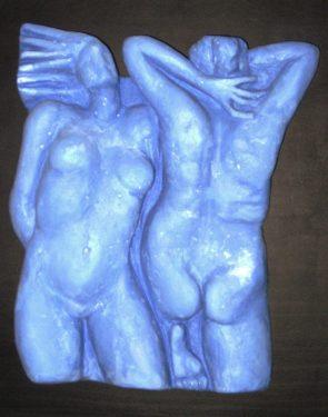 Torsos en azul. 2016 / Escayola sobre madera de 37 cm.