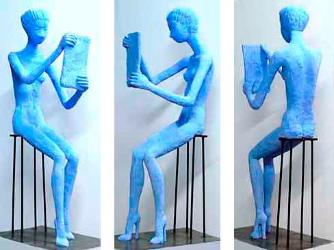 Espejo, 120 cm / 2011 / Cemento especial pintado con pigmento azul