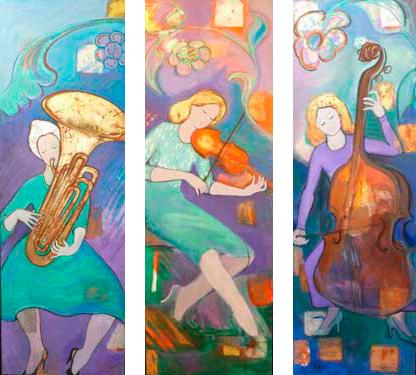 Trompetistas, tubista y clarinetista, 2012 / 65 x 195 cm / Acrílico sobre lienzo con pan de oro, plata y cobre